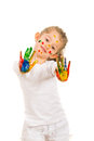 Beauty girl showing her colorful hands in paints isolated on white background Stock Photography