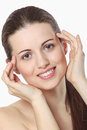 Beauty girl smiling beautiful with fresh and clean face and spa conceptual Stock Image