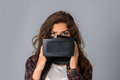 Beauty girl testing virtual reality glasses Royalty Free Stock Photo