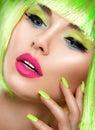 Beauty girl with vivid makeup and bright green nailpolish Royalty Free Stock Photo