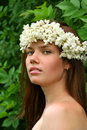 Beauty Girl with wreath Stock Photo