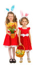 Beauty girls with bunny ears and easter eggs two sisters holding in basket flowers iaolted on white background Stock Photography