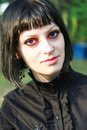 Beauty goth girl walks Royalty Free Stock Photo