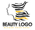 Beauty hair logo illustration drawing representing a with a girl zebra texture Royalty Free Stock Photo