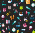Beauty and health, background, seamless, color, black, vector.
