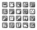 Beauty and health, icons, grey, flat, vector.