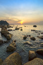 Beauty landscape with sun rising over sea image of Stock Images
