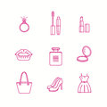 Beauty and makeup icon set in trendy linear style.