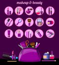 Beauty, makeup icons and Makeup bag with beautician tools. Royalty Free Stock Photo