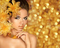 Beauty Makeup, luxury jewelry. Fashion glamour girl model portra Royalty Free Stock Photo