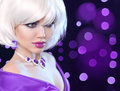 Beauty makeup Portrait Woman. Fashion Bob Blond Girl. White Short Hair. Gems jewelry pendant. Face Close up. Hairstyle. Fringe. V