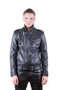 beauty male model portrait wear black leather jacket and pants, young guy over white isolated background Royalty Free Stock Photo