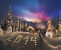 Beauty of meeting the christmas season wild winter mountains in an old hunting cabin when flame dawn a new day Stock Photo