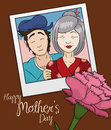 Beauty Memory Photo of Mom and Son in Mother's Day, Vector Illustration Royalty Free Stock Photo
