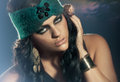 Beauty model with blue eyes and extreme make upe Stock Photography