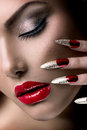 Beauty model girl fashion manicure and make up Stock Image