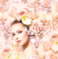 Beauty model girl with flowers fashion hair bride Royalty Free Stock Images