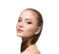 Beauty model on white background, fashion shooting