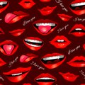 Beauty modern realistic seamless pattern with different lips isolated on dark