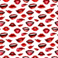 Beauty modern realistic seamless pattern with lips isolated on white