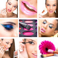 Beauty montage women makeup palette brush in one picture Royalty Free Stock Photos