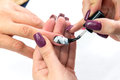 Beauty nails construction whit gel Royalty Free Stock Photo