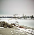 Beauty in nature pier at a lake orangeville dufferin county ontario canada Royalty Free Stock Photography