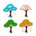 Beauty of nature . Seasons. Trees. Isolated. Set: trees - season