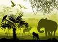 Beauty of nature with wild animals (elephant, monkey, antelope, Royalty Free Stock Photo