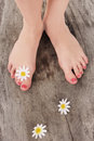 Beauty pedicured feet treatment photo Stock Photos
