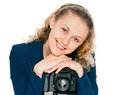 Beauty photographer young woman with camera on tripod Stock Photos