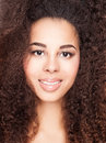 Beauty portrait of african american girl. Royalty Free Stock Photo