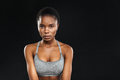 Beauty portrait of afro american fitness woman with perfect skin Royalty Free Stock Photo