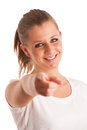 Beauty portrait of attractive young woman pointing with index finger isolated over white background Stock Photos
