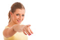 Beauty portrait of attractive young woman pointing with index finger isolated over white background Stock Image