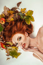 Beauty portrait with autumn leaves Stock Photos