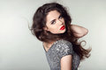 Beauty Portrait of beautiful brunette woman with red lips and cu Royalty Free Stock Photo
