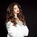 Beauty portrait of beautiful elegant woman with red lips makeup Royalty Free Stock Photo