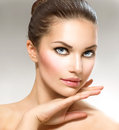 Beauty portrait beautiful spa woman touching her face Royalty Free Stock Photos