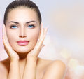 Beauty portrait beautiful spa woman touching her face Royalty Free Stock Photography
