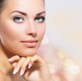 Beauty portrait beautiful spa woman touching her face Stock Image