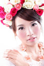 Beauty portrait of bride with roses asian woman Royalty Free Stock Images