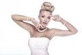 Beauty portrait of elegant blonde lady. Royalty Free Stock Photo
