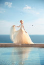 Beauty Portrait of gorgeous bride in wedding dress with blowing skirt Royalty Free Stock Photo