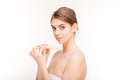 Beauty portrait of pretty young woman filing nails Royalty Free Stock Photo