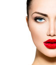 Beauty portrait professional makeup for brunette with blue eyes Stock Photography