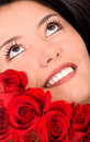 Beauty portrait with roses Royalty Free Stock Photography
