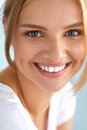 Beauty Portrait Of Woman With Beautiful Smile Fresh Face Smiling