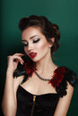 Beauty portrait of young brunette woman in black corset Royalty Free Stock Photo