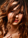Beauty portrait young female with curly hair Royalty Free Stock Photography